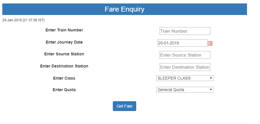 Fare Enquiry