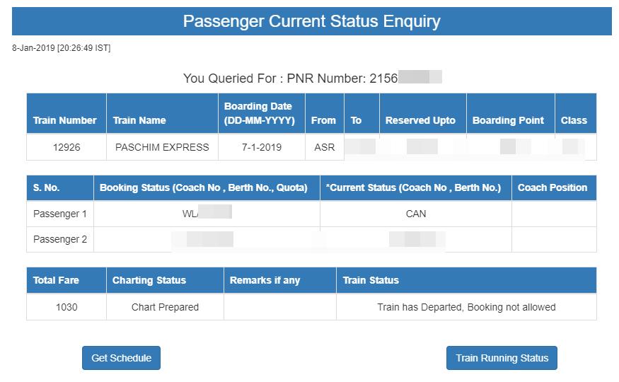 PNR Status-3